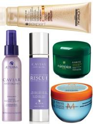 HÅRKURER: Fra toppen: Absolut Repair Cullular Cleansing Balm fra L'oréal kan brukes som et alternativ til shampoo eller hårkur for en reparasjonsboost. Hårmasken både vasker, reparerer og gjør håret ekstremt mykt og glansfullt (veil.pris kr 205). Caviar Anti-Aging Rapid Repair Spray fra Alterna revitaliserer håret, og gir ekstra fuktighet og glans (kr 438). Caviar Anti-Aging Overnight Hair Rescue er en hårkur som virker over natten (Alterna, kr 499). Karité Nourishing Conditioning Cream er en hårkur for ekstra tørt hår. Kuren gir intensiv beskyttelse og næring (Rene Furterer, kr 329).  Restorative Hair Mask fra Moroccanoil er en gjenoppbyggende hårmaske for kjemisk behandlet og skadet hår. Hårmasken trenger dypt inn i håret og gjenoppbygger ved å reparere skader forårsaket av kjemikalier og andre miljøpåvirkninger (kr 299).