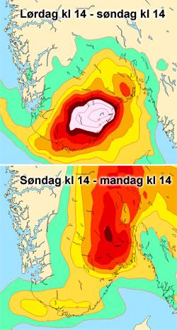 Kartene viser hvor det blir våtest i helgen. (Foto: StormGei)