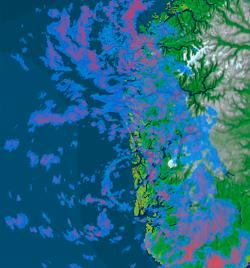 Vestlandet er dekket av kraftige regnbyger klokken 10 torsdag. (Foto: StormGeo)