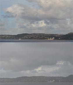 I Bergen var det gløtt av blå himmel i det ene øyeblikket, pøsregn i det neste torsdag morgen. (Foto: Ronald Toppe)