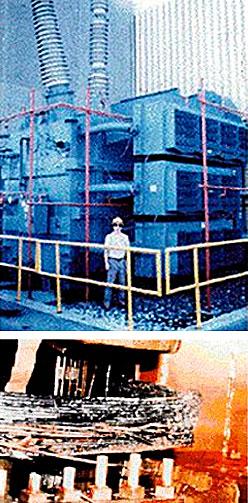 Innmaten i denne transformatoren smeltet under utbruddet i 1989. (Foto: NASA)