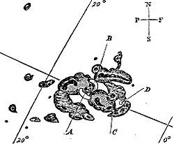 Det var disse solflekkene Carrington tegnet da det smalt i september 1859. (Foto: Royal Astronomical Society)