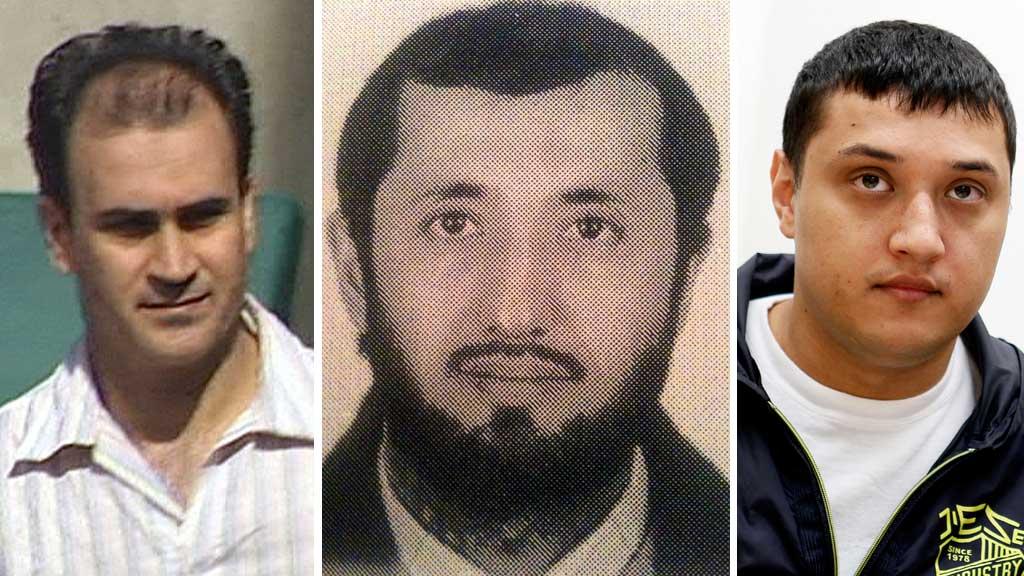 TERRORTILTALT: Shawan Sadek Saeed Bujak, Mikael Davud og David Jakobsen skal ifølge tiltalen ha planlagt en terrorhandling mot Jyllands-Posten og skyte den danske tegneren Kurt Westergaard. (Foto: Montasje)
