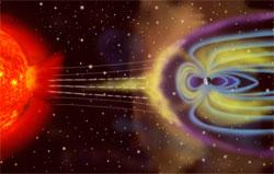 Magnetfeltet rundt jorden skjermer oss for de farlige partiklene, men er utbruddet på solen kraftig nok forstyrres magnetfeltet. (Foto: Wikimedia Commons)