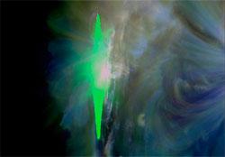 Dette er utbruddet på solen som ga nordlyset tirsdag. Den grønne støyen er stråling som påvirker sensoren i satellitten. (Foto: NASA)