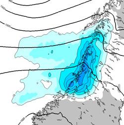 Mellom klokken 20 onsdag og 20 torsdag vil det falle i overkant   av 50 millimeter nedbør i det mørkeblå området. (Foto: StormGeo)