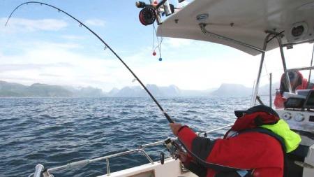 NOE STORT ER PÅ GANG: Fiskestangen bøyde seg dobbelt og knakk til slutt i kampen med kveita. (Foto: bnps.co.uk)