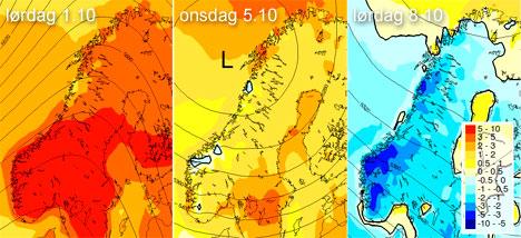 Kartene viser avvik fra normal temperatur. Denne helgen blir det mye varmere enn normalt, neste mye kaldere. (Foto: StormGeo)