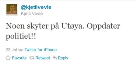 TWITTER: Denne oppdateringen kom Kjetil Vevle med 17.52.  (Foto: Faksimile Twitter.com/kjetilvevle)