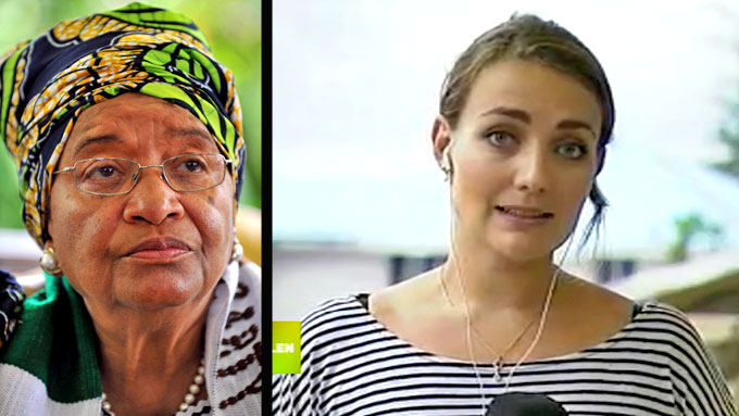 Ellen Johnson Sirleaf og Mariel Melingen (Foto: Reuters/TV 2 monrtasje: TV 2)