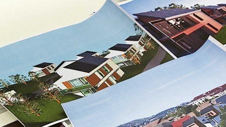 Slik er noen av arkitekttegningene til flere passivhus. (Foto: TV 2)
