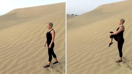 ENKLE ØVELSER: På bildet til venstre viser Anne Marte den første øvelsen, mens hun på bildet til høyre viser øvelse nummer to. (Foto: Privat/)
