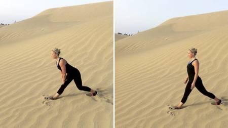 TØY BAKSIDE: Den syvende øvelsen (til venstre) tøyer bakside av lår. I den åttende øvelsen (til høyre) skal du tilbake i høy posisjon. (Foto: Privat/)