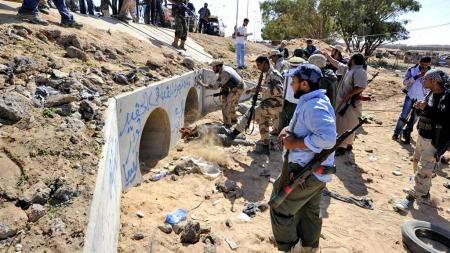 Gaddafi betongtunnel (Foto:   AFP)