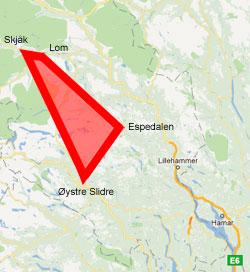 Et eller annet sted innenfor det røde området falt meteoritten ned.
