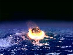 Denne skissen viser hvordan et treff på jorden vil se ut. Hastigheten er så stor at kometbitene ville frigjort enorme energimengder. (Foto: Wikipedia Commons)