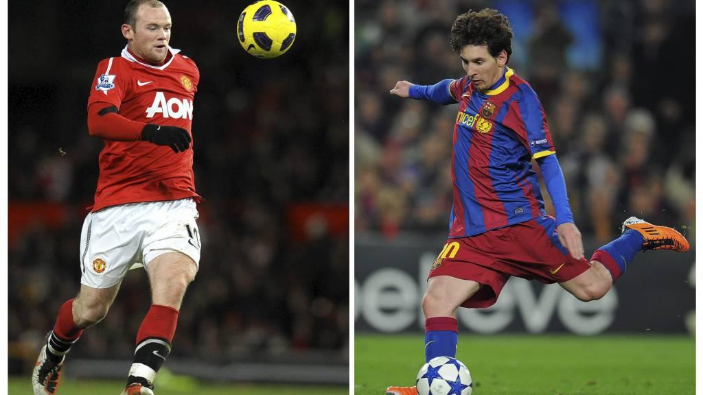 MØTES: Wayne Rooney og Lionel Messi skal etter planen møtes i Sverige 8. august. (Foto: STF/Afp)