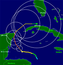 Den tynne streken er prognosen, sirklene viser usikkerheten i beregningene. Fargen viser styrken på vinden, orange er kategori 3. (Foto: TSR)