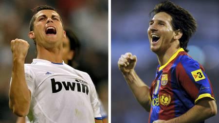 NUMMER EN: Lionel Messi rangeres foran Cristiano Ronaldo. (Foto: LLUIS GENE/Afp)