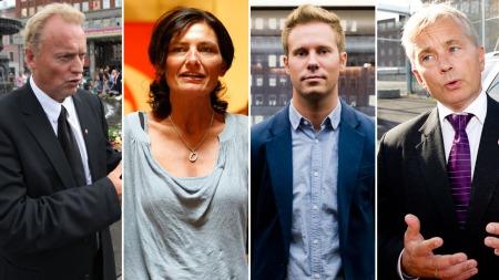 DRAPSTRUES: Ap-politikerne Raymond Johansen, Libe Rieber-Mohn, Eskil Pedersen og Knut Storberget.  (Foto: SCANPIX/(TV 2-montasje)