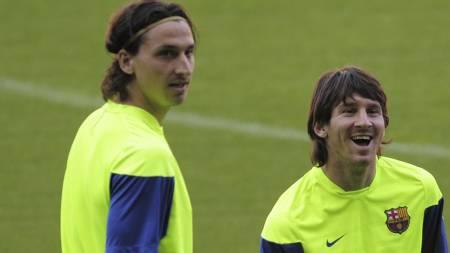 VENNER ELLER FIENDER? Zlatan og Messi. (Foto: MANU FERNANDEZ/Ap)