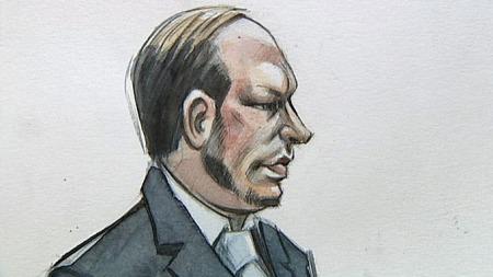 Anders   Behring Breivik rettstegning (Foto: Tegning: Lars Slettebø/TV 2)
