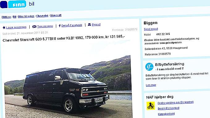 Slik ser den ut, Chevrolet Starcraften som Biggen selger med en annonsetekst rett fra levra! Faksimile fra www.finn.no.