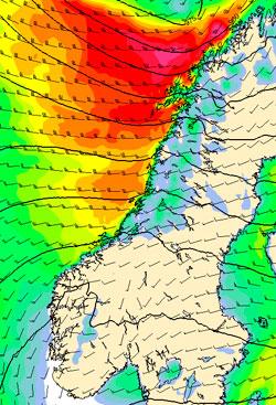 Klokken 14 tordag er det sterk vind i Nord-Norge. Fiolett viser hvor det blåser storm, gult, oransje og rødt er kuling. (Foto: StormGeo)