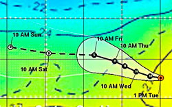 Prognosen viser at Kenneth vil komme inn over hav der temperaturen   er lavere enn 26 grader torsdag. (Foto: NOAA)