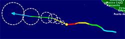Den tykke streken viser hvordan Kenneth har beveget seg. Fargene   viser styrken, rødt er orkan i kategori 4, orange kategori 3. Den tynne   streken er prognosen, sirklene viser usikkerheten i beregningen. (Foto:   TSR)