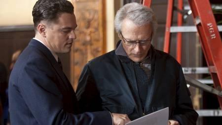 FBI-SJEF: Filmen om Hoover spilles nå på amerikanske kinoer.   Her er DiCaprio og Eastwood under innspillingen. (Foto: Keith Bernstein/Ap)
