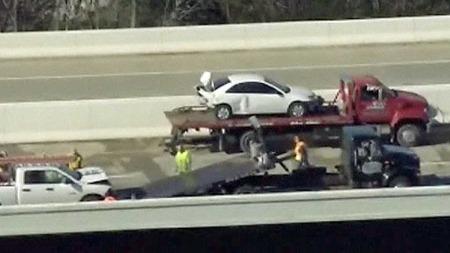174 BILER INVOLVERT: Totalt var det 174 biler involvert, men «bare» 47 biler fikk skader.  (Foto: CBS)