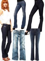BOOT CUT: Øverst f.v. mørkeblå jeans (ca kr 900, Asos.com),  jeans med lavt liv og slitt look (kr 995, Diesel/Nelly.com), mørkeblå jeans (kr 399, Serious Sally/Nelly.com), stenvaskede, lyseblå bukser /kr 399, H&M) og jeans med lavt liv (kr 299, H&M).