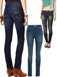 SKINNY: F.v. blå jeans med lave lommer (ca kr 630, Wrangler/Asos.com), stretchy jeans med høyt liv (kr 399, Lindex), sorte jeans med slitt uttrykk (kr 299, Zara).