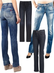 STRAIGHT: F.v. bukse med høyt liv (ca kr 765, Mih Jeans/Asos.com), grå jeans (ca kr 1700, 7 for all Mankind/Net-a-porter.com), mørkeblåmodell (kr 349, Kappahl) og lyse, slitte jeans med flekker (kr 600, Only).