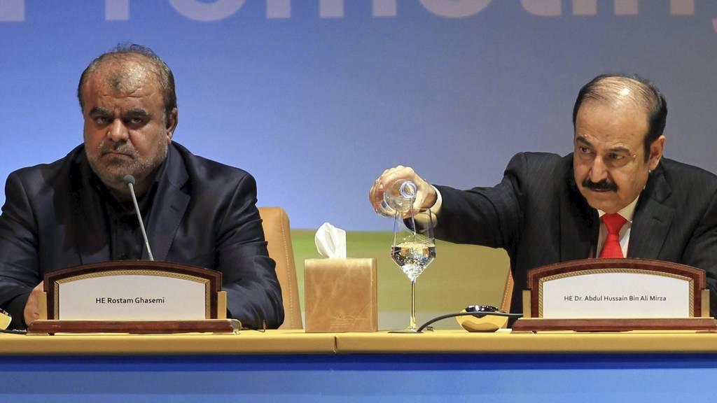 AVHENGIG AV IRAN: Irans oljeminister Rostam Qasemi sammen med Bahrains olje- og gassminister Abdul-Hussain Mirza på den internasjonale petroleumskongressen. OPEC-landene varsler om oljemangel dersom EU innfører oljesanksjoner mot Iran. (Foto: KARIM JAAFAR/Afp)