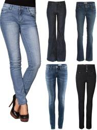 HIGH WAIST OG LOW WAIST: Fra venstre: Jeans i slim fit med low waist (kr 649, Sexy By Sweden, Nelly.com), mørkeblå jeans med sleng og high waist fra Levi's (ca kr 1590, Levi's, Net-a-porter.com), jeans med smal passform og lav midje (kr 399, Lindex), jeans i vasket deim med smal passform, smale ben og lav midje (kr 299, H&M), svart jeans med høyt liv (kr 399,95, Only).