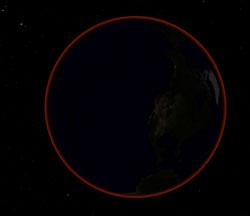 Slik vil jorden se ut fra månen under formørkelsen. Atmosfæren skinner såvidt i rødt. Det er dette røde lyset som treffer månen og farger den burgunderrød. (Foto: UiO)