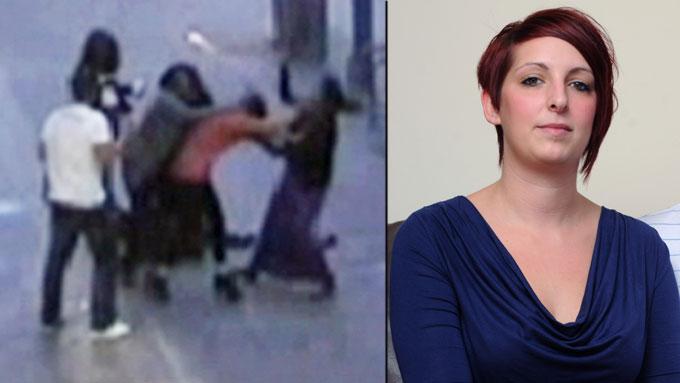 ANGREPET PÅ GATEN: Her blir Rhea (t.h.) angrepet av de fire kvinnene. Kjæresten Lewis Moore prøvde å få dem bort fra Rhea, men klarte det ikke. (Foto: Hotspot Media)