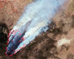 Satellittbilde av flere branner i New Mexico og Arizona tatt 8. juni. 1600 kvadratkilometer er ødelagt av flammene. (Foto: NASA)