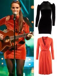 MED NORSK DESIGN: Jenny har på seg kjole fra den norske designeren Nina Jarebrink. Du kan stjele «Idol»-Jennys stil med samme kjole i svart (kr 1959, Nina Jarebrink) eller et rimeligere alternativ med tomatrød kjole fra H&M (kr 149).