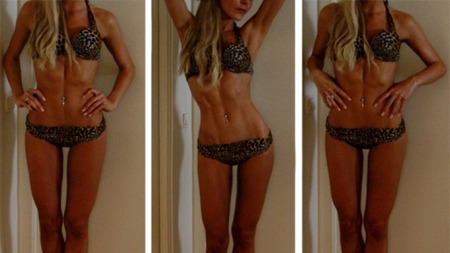 BIKINI: Bikinibildene Fotballfrue postet tidligere i år skapte   store reaksjoner.