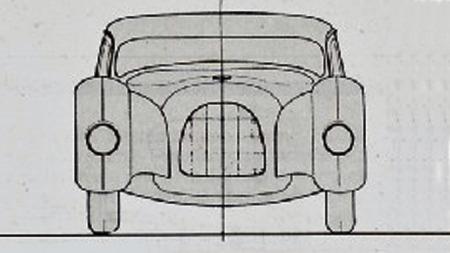 Lav takprofil, men tegningen av fronten minner om at det fremdeles var tidlig på 1930-tallet da denne bilen ble tegnet.