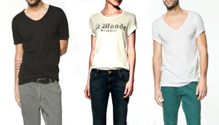 DET ENKLE ER OFTE DET BESTE: T.v. mørk t-skjorte til herre (kr 129), hvit t-skjorte med enkelt trykk (kr 199), hvit t-skjorte til herre (kr 129), alt fra Zara.no