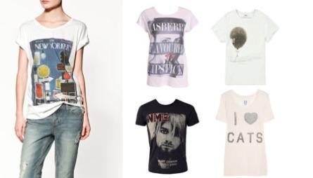 PRINT MED MENING: Dersom du velger t-skjorte med slogans eller logoer er det viktig at du her en personlig relasjonen til det mener ekspertene. Fv. T-skjorte til dame (kr 199/Zara.no), hvit t-skjorte med tekst og motiv til dame (kr 150/Nelly.com), hvit t-skjorte med ballong til herre (ca kr 695, Acne/MrPorter.com), sort t-skjorte med Kurt Cobain-trykk (kr 199/Nelly.com), hvit t-skjorte med slagord (ca kr 580, Zoe Karrsen/Net-a-porter.com)