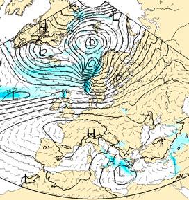 Slik ser prognosen for 26. desember ut, og den er typisk for hele juleuken: Lavtrykk i nord, og høytrykk i sør. (Foto: StormGeo)
