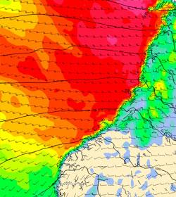Her blåser det mest mandag klokken 10. (Foto: StormGeo)