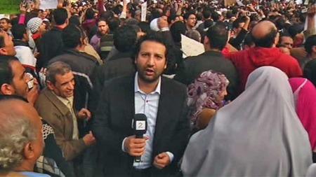 Kadafi Zaman på Tahrir-plassen (Foto: Aage Aune/TV 2)