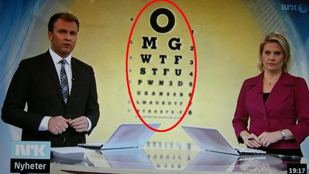 OMG: Bak nyhetsoppleserne er den litt uvanlige synstesten som skjuler flere internettforkortelser. (Foto: NRK)