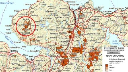 OVERSIKT: Dette kartet fra NGU viser at det er store mengder kvikkleire på Esp hvor raset gikk. Faregraden vurderes som middels og høy. (Foto: Skjermdump NGU)